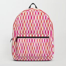 Mid-Century Ribbon Print, Coral and Orchid Pink Backpack