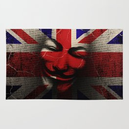 Guy Fawkes Day Union Jack Distressed Flag and Mask Rug