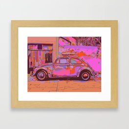 Beetle in front of a wall and garage Framed Art Print