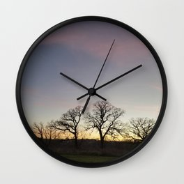 Autumn Sunset Silhouette - Pheasant Branch Conservancy Wall Clock