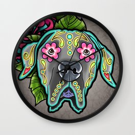 Great Dane with Floppy Ears - Day of the Dead Sugar Skull Dog Wall Clock