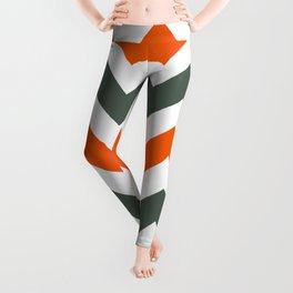 Chevron Pattern In Russet Orange Grey and White Leggings