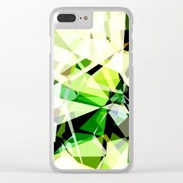 Green Glass Polygons Clear iPhone Case
