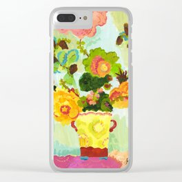 Aqua Butter Flowers Clear iPhone Case