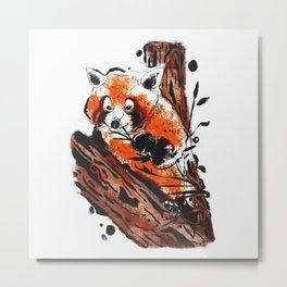 Cheeky Red Panda Metal Print