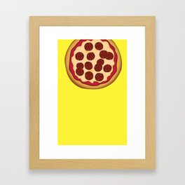 Pizza Home Decor Yellow Art Print Italian Cuisine Pepperoni salami Kitchen Decoration Yellow Art Framed Art Print