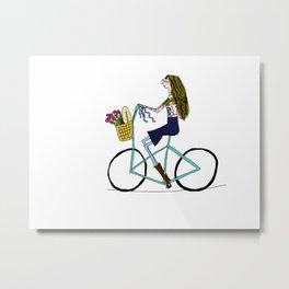 BIKE LOVE - lady on a picnic Metal Print