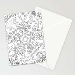 Round ornament with floral ancient Greek motif Stationery Cards