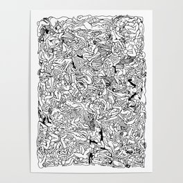 Lots of Bodies Doodle in Black and White Poster