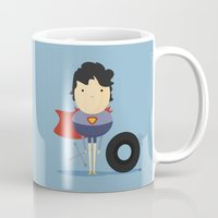 super hero Mugs featuring My Super hero! by Juliana Rojas | Puchu