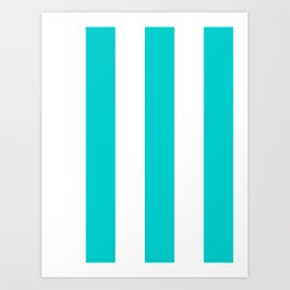 Wide Vertical Stripes - White and Cyan Art Print