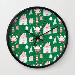 Santa is in Town Green #Holiday #Christmas Wall Clock