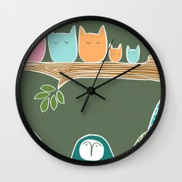 Sleepy Birds Wall Clock