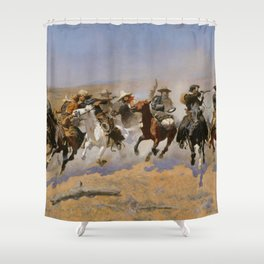 "Frederic Remington Western Art ""Dash For The Timber"" Shower Curtain"