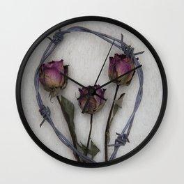 Three dried Roses II Wall Clock