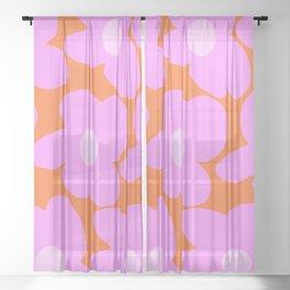 Pastel Pink Retro Flowers Orange Background #decor #society6 #buyart Sheer Curtain