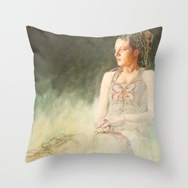 L'attente by Jacques Lajeunesse Throw Pillow
