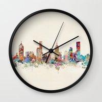 melbourne Wall Clocks featuring melbourne australia by bri.buckley