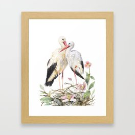 Two Storks Watercolor Painting, Wildlife Art, Clematis Plant, Wild Birds Framed Art Print