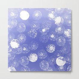 Abstract hand painted violet white watercolor paint polka dots Metal Print