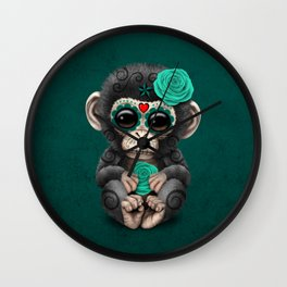 Teal Blue Day of the Dead Sugar Skull Baby Chimp Wall Clock