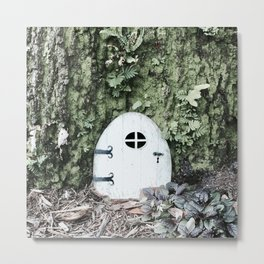 Door to a Tiny House at the Base of a Tree Metal Print