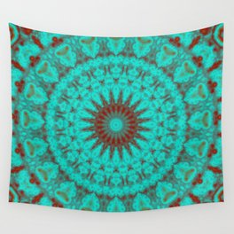 Mandala Fractal in Oxidized Copper 2 Wall Tapestry