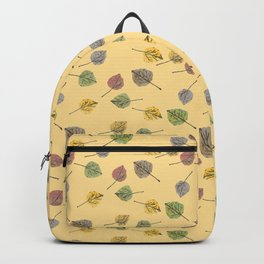 Colorado Aspen Tree Leaves Hand-painted Watercolors in Golden Autumn Shades on Butter Yellow Backpack