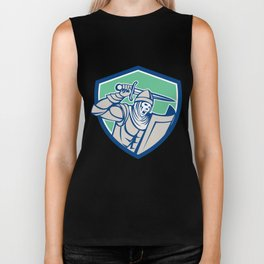Knight With Sword and Shield Retro Biker Tank