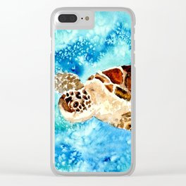 Sea Turtle Painting Clear iPhone Case