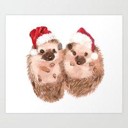 Christmas Twin Hedgehog Kunstdrucke