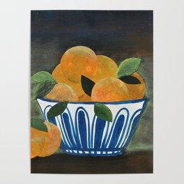 Still Life Oranges in Blue Bowl Poster