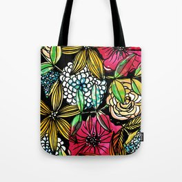 Flower Bouquet with black background Tote Bag