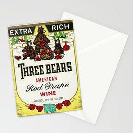 Vintage Three Bears Wine Bottle Label Print Stationery Cards