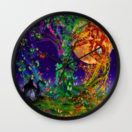 Tree Of Life With Owl and Dragon Wall Clock
