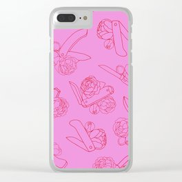 Peonies and Switchblades Clear iPhone Case