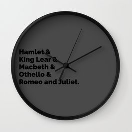 The Shakespeare Plays II Wall Clock