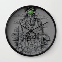 magritte Wall Clocks featuring Magritte Noir by Peter Kramar