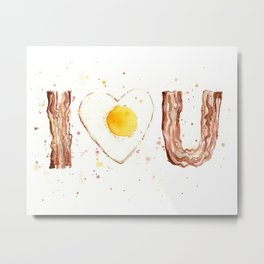 Bacon and Egg Love Valentines Day Heart Metal Print
