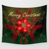 merry christmas Wall Tapestries featuring Merry Christmas by Roger Wedegis