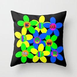 Flower Power 60s-70s Throw Pillow