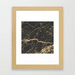 Marble Black Gold - Whistle Framed Art Print