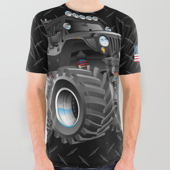 Off_Road_4x4_Cartoon_All_Over_Graphic_Tee_by_hobrath___Large