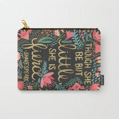 Little & Fierce on Charcoal Carry-All Pouch