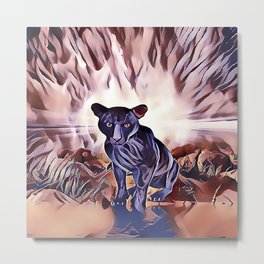 Black Panther Fire Cat Metal Print