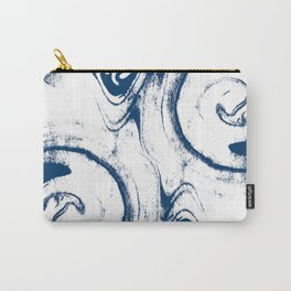 marble suminigashi spilled ink watercolor painting navy painterly abstract art Carry-All Pouch