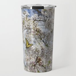 Swallowtail Butterfly in Cherry Blossoms Travel Mug