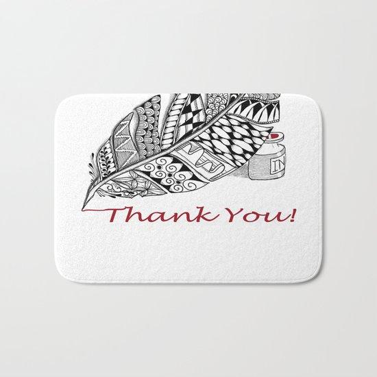 Zentangle Thank You - Black and White Illustration Bath Mat