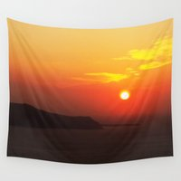 greece Wall Tapestries featuring Sunset in Greece 2 by Bizzack Photography