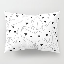 Japanese Origami white paper cranes sketch, symbol of happiness, luck and longevity Pillow Sham